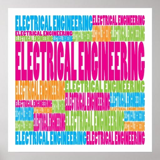 Ingeniería eléctrica colorida póster