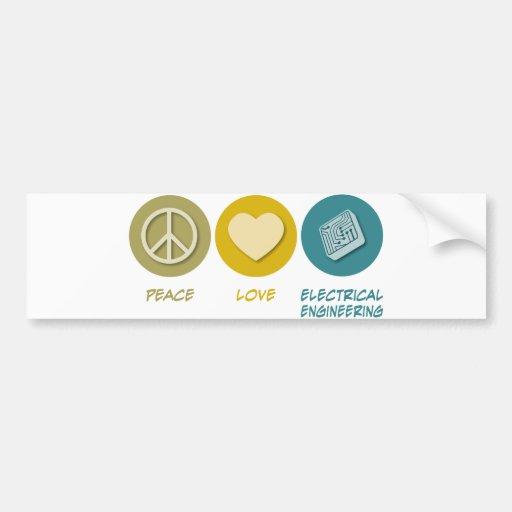 Ingeniería eléctrica del amor de la paz pegatina de parachoque