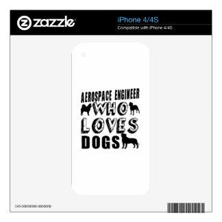 ingeniero aeroespacial que ama perros calcomanía para el iPhone 4