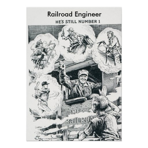 Ingeniero americano del tren de ferrocarril posters