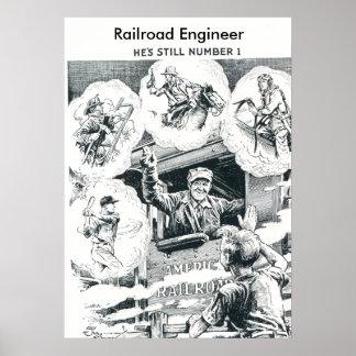 Ingeniero americano del tren de ferrocarril póster