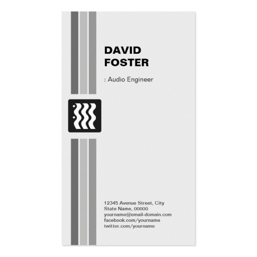 Ingeniero audio - blanco negro moderno plantillas de tarjeta de negocio