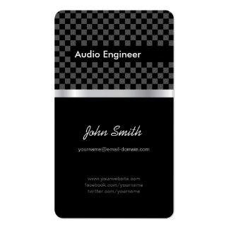 Ingeniero audio - cuadrados de plata negros elegan tarjetas de visita
