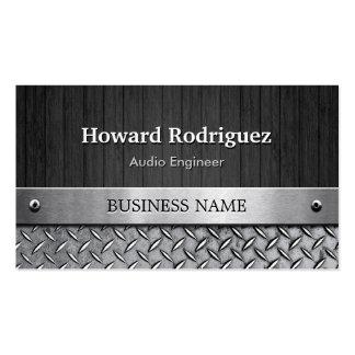 Ingeniero audio - mirada de madera y del metal tarjeta de negocio
