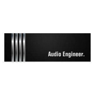 Ingeniero audio - rayas de plata negras tarjetas de visita mini