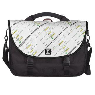 Ingeniero biológico dentro bolsas para ordenador
