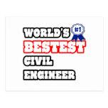 Ingeniero civil de Bestest del mundo Tarjeta Postal