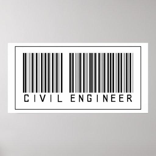 Ingeniero civil del código de barras impresiones