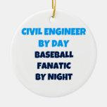 Ingeniero civil del fanático del béisbol del día p ornamentos de reyes