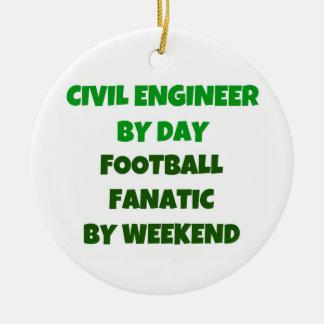 Ingeniero civil del fanático del fútbol del día adorno navideño redondo de cerámica