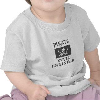 Ingeniero civil del pirata camisetas