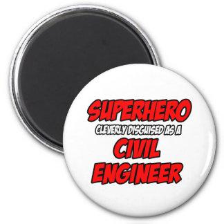 Ingeniero civil del super héroe… imán redondo 5 cm