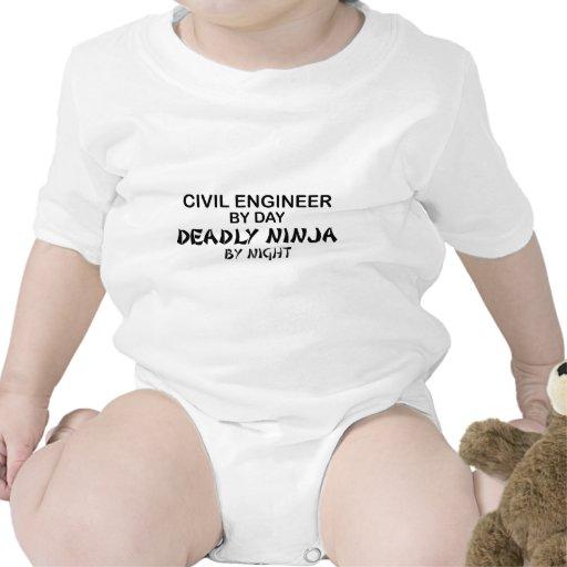 Ingeniero civil Ninja mortal por noche Camiseta