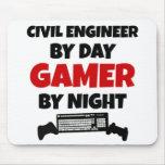 Ingeniero civil por videojugador del día por noche alfombrilla de ratón