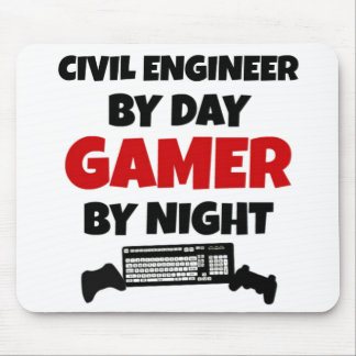 Ingeniero civil por videojugador del día por noche tapetes de ratones