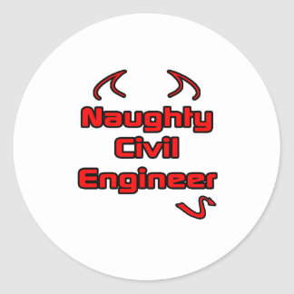 Ingeniero civil travieso pegatina redonda