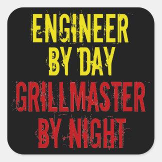Ingeniero de Grillmaster con amarillo Calcomanías Cuadradass