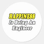 Ingeniero de la felicidad… etiqueta redonda