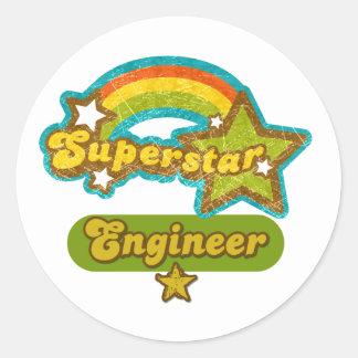 Ingeniero de la superestrella pegatina redonda