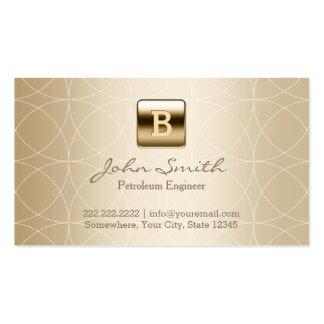 Ingeniero de lujo del petróleo del monograma del tarjetas de visita