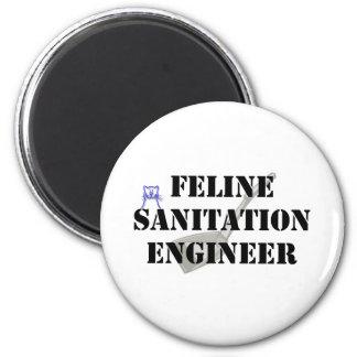Ingeniero de saneamiento felino imán redondo 5 cm