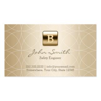 Ingeniero de seguridad de lujo del monograma del tarjetas de visita