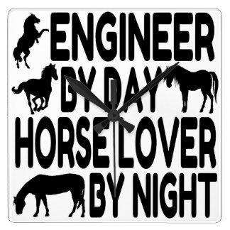 Ingeniero del amante del caballo reloj cuadrado