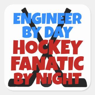 Ingeniero del amante del hockey calcomania cuadrada personalizada