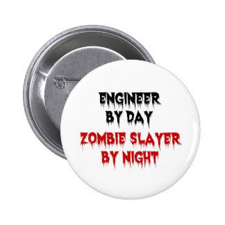 Ingeniero del asesino del zombi del día por noche pin redondo de 2 pulgadas
