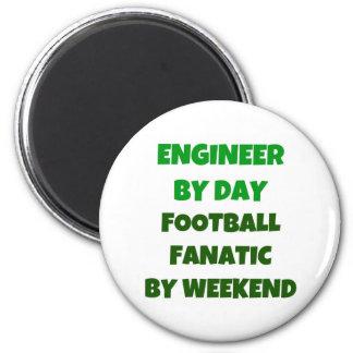 Ingeniero del fanático del fútbol del día por fin  imán redondo 5 cm