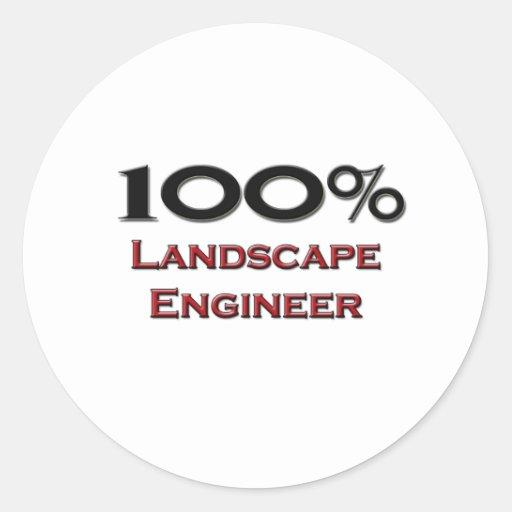 Ingeniero del paisaje del 100 por ciento etiqueta redonda