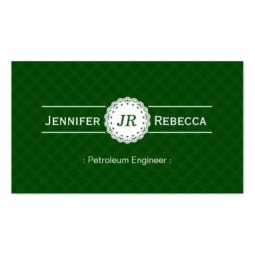 Ingeniero del petróleo - verde moderno del monogra tarjeta de visita