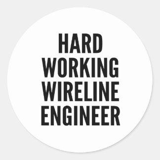 Ingeniero duro del cable metálico de pegatina redonda