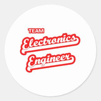 Ingeniero electrónico del equipo pegatinas redondas