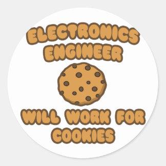 Ingeniero electrónico Trabajará para las galletas Pegatina