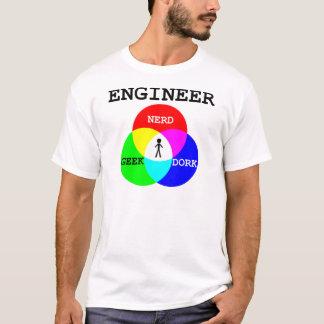 Ingeniero en la intersección del friki, empollón, playera