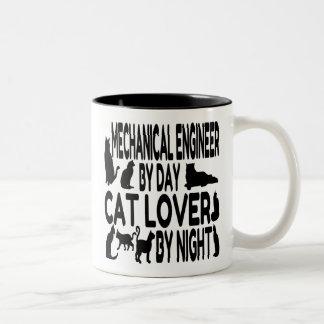 Ingeniero industrial del amante del gato taza de café de dos colores