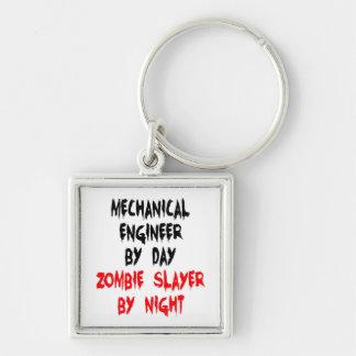Ingeniero industrial del asesino del zombi llavero cuadrado plateado