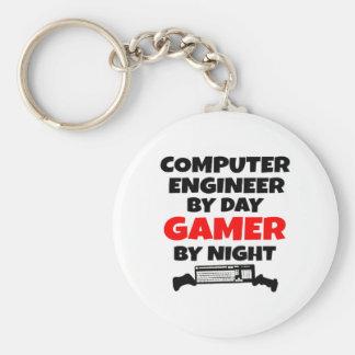 Ingeniero informático del videojugador llavero redondo tipo pin