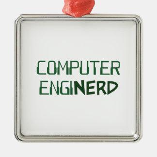Ingeniero informático Enginerd Adorno Navideño Cuadrado De Metal