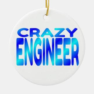 Ingeniero loco adorno navideño redondo de cerámica