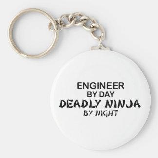 Ingeniero Ninja mortal por noche Llavero Redondo Tipo Pin