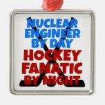 Ingeniero nuclear del amante del hockey ornamento para arbol de navidad