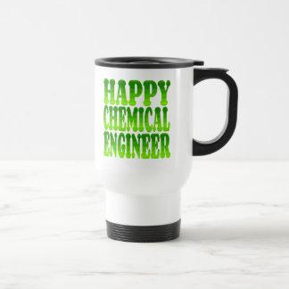 Ingeniero químico feliz en verde tazas