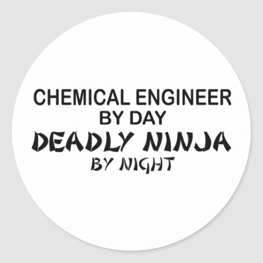 Ingeniero químico Ninja mortal por noche Etiqueta Redonda