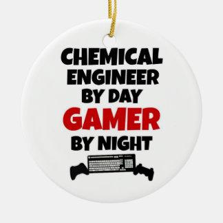 Ingeniero químico por videojugador del día por adorno navideño redondo de cerámica