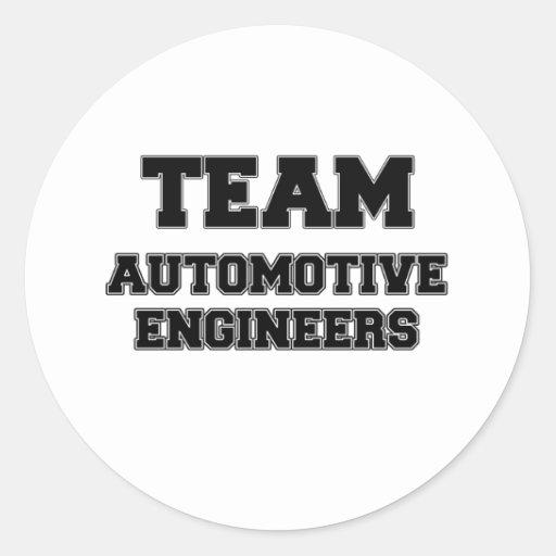 Ingenieros automotrices del equipo pegatina redonda