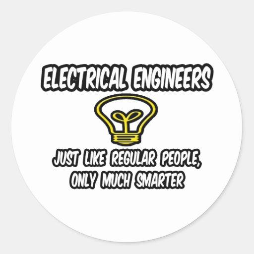 Ingenieros eléctricos. Gente regular, solamente Etiquetas Redondas