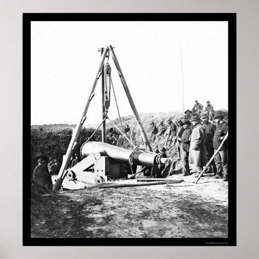 Ingenieros que quitan un arma para general Sherman Póster