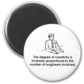 Ingenieros y creatividad imán redondo 5 cm